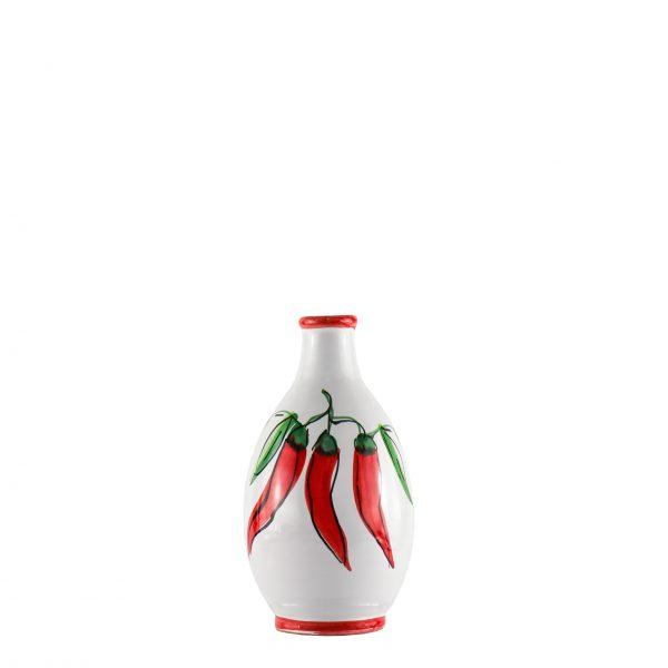 Orcio in ceramica fatto a mano con soggetto peperoncini - contenuto olio extravergine di oliva - formato 100 ml